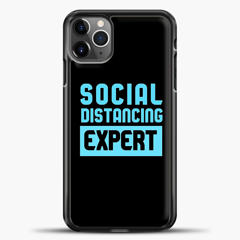 Sosial Distancing Ecpert Blue iPhone 11 Pro Max Case, Black Plastic Case | casedilegna.com