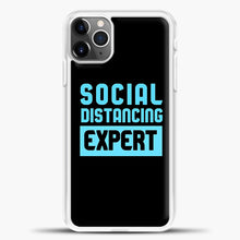Load image into Gallery viewer, Sosial Distancing Ecpert Blue iPhone 11 Pro Max Case, White Plastic Case | casedilegna.com