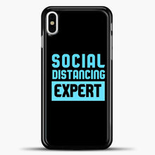 Load image into Gallery viewer, Sosial Distancing Ecpert Blue iPhone X Case, Black Plastic Case | casedilegna.com