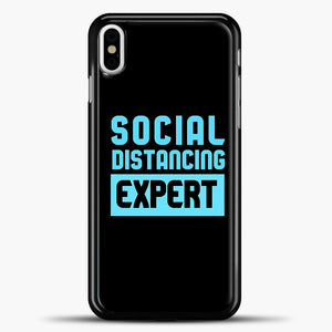 Sosial Distancing Ecpert Blue iPhone X Case, Black Plastic Case | casedilegna.com