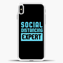 Load image into Gallery viewer, Sosial Distancing Ecpert Blue iPhone X Case, White Plastic Case | casedilegna.com
