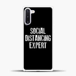 Sosial Distancing Expert Black Samsung Galaxy Note 10 Case, White Plastic Case | casedilegna.com