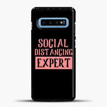 Load image into Gallery viewer, Sosial Distancing Expert Pink Samsung Galaxy S10 Case, Black Plastic Case | casedilegna.com