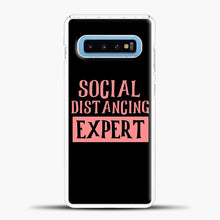 Load image into Gallery viewer, Sosial Distancing Expert Pink Samsung Galaxy S10 Case, White Plastic Case | casedilegna.com