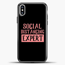 Load image into Gallery viewer, Sosial Distancing Expert Pink iPhone XS Case, Black Plastic Case | casedilegna.com
