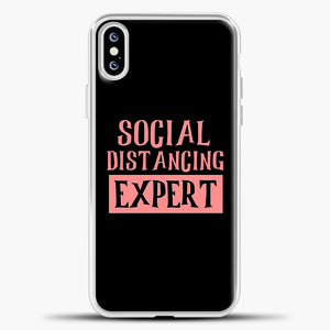 Sosial Distancing Expert Pink iPhone XS Case, White Plastic Case | casedilegna.com
