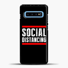 Load image into Gallery viewer, Sosial Distancing Line Red Samsung Galaxy S10 Case, Black Plastic Case | casedilegna.com