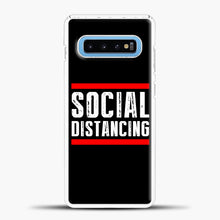 Load image into Gallery viewer, Sosial Distancing Line Red Samsung Galaxy S10 Case, White Plastic Case | casedilegna.com