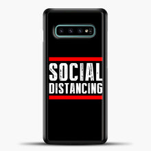 Load image into Gallery viewer, Sosial Distancing Line Red Samsung Galaxy S10e Case, Black Plastic Case | casedilegna.com