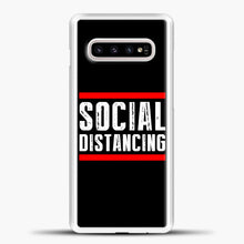 Load image into Gallery viewer, Sosial Distancing Line Red Samsung Galaxy S10e Case, White Plastic Case | casedilegna.com