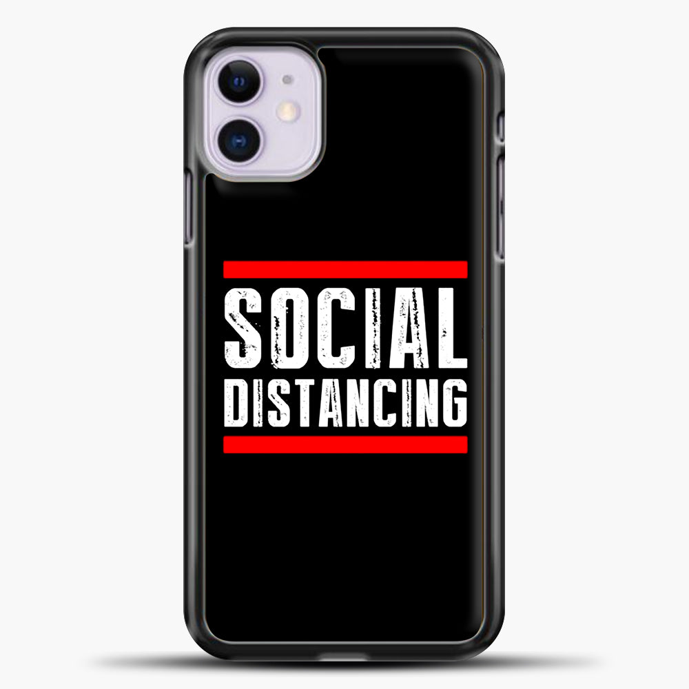 Sosial Distancing Line Red iPhone 11 Case, Black Plastic Case | casedilegna.com