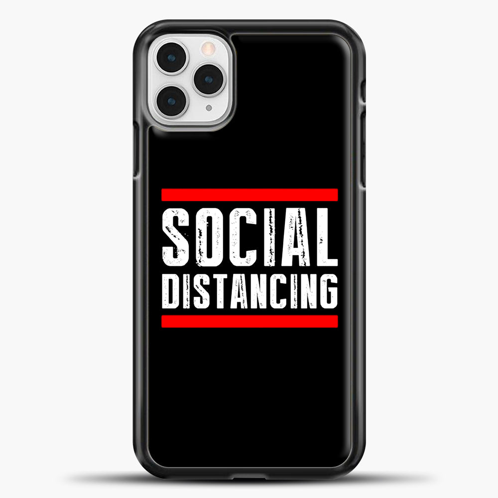 Sosial Distancing Line Red iPhone 11 Pro Case, Black Plastic Case | casedilegna.com