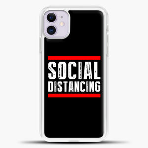 Sosial Distancing Line Red iPhone 11 Case, White Plastic Case | casedilegna.com