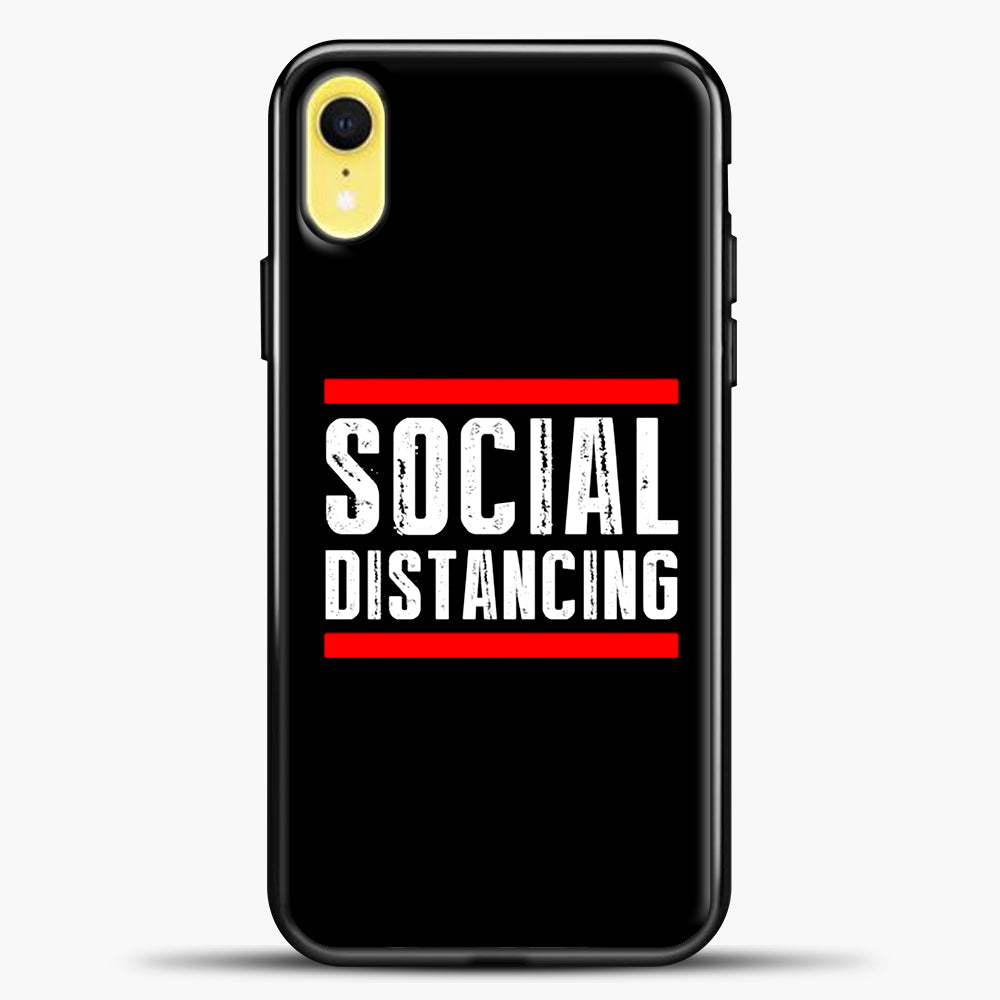 Sosial Distancing Line Red iPhone XR Case, Black Plastic Case | casedilegna.com