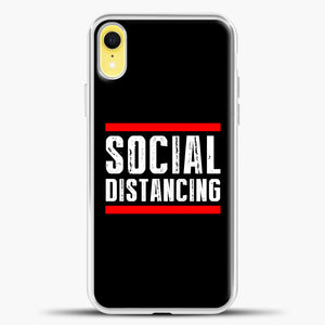 Sosial Distancing Line Red iPhone XR Case, White Plastic Case | casedilegna.com