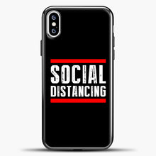 Load image into Gallery viewer, Sosial Distancing Line Red iPhone XS Case, Black Plastic Case | casedilegna.com