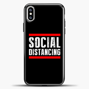 Sosial Distancing Line Red iPhone XS Case, Black Plastic Case | casedilegna.com