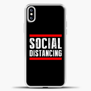 Sosial Distancing Line Red iPhone XS Case, White Plastic Case | casedilegna.com