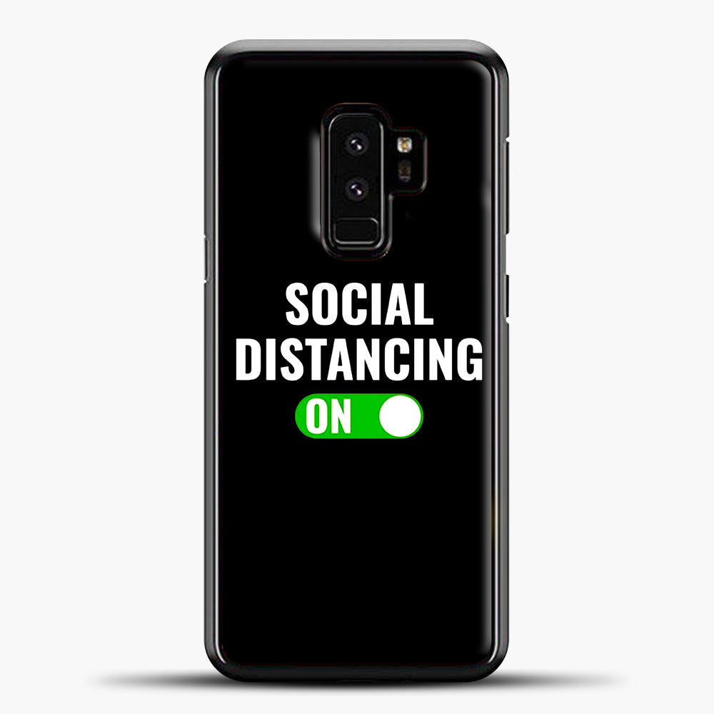 Sosial Distancing On Green Samsung Galaxy S9 Case, Black Plastic Case | casedilegna.com