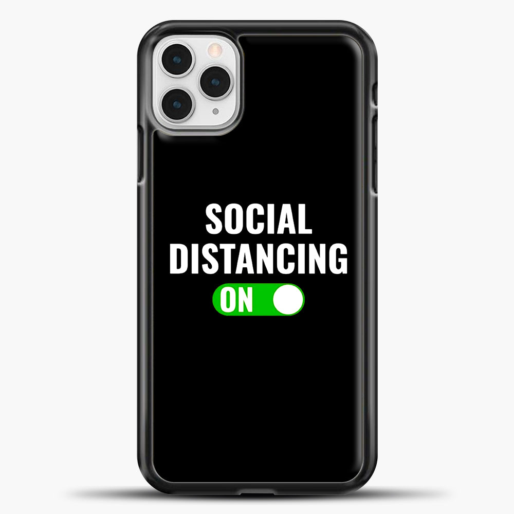 Sosial Distancing On Green iPhone 11 Pro Case, Black Plastic Case | casedilegna.com