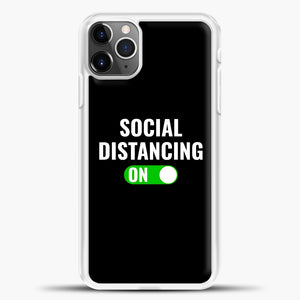 Sosial Distancing On Green iPhone 11 Pro Max Case, White Plastic Case | casedilegna.com