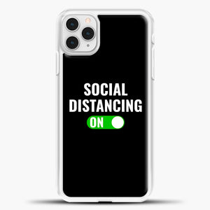 Sosial Distancing On Green iPhone 11 Pro Case, White Plastic Case | casedilegna.com