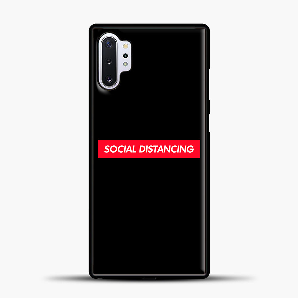 Sosial Distancing Red Samsung Galaxy Note 10 Plus Case, Black Plastic Case | casedilegna.com