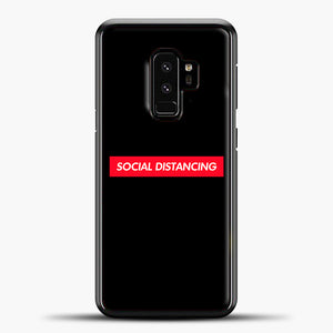 Sosial Distancing Red Samsung Galaxy S9 Case, Black Plastic Case | casedilegna.com
