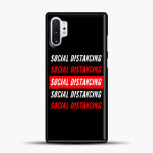 Load image into Gallery viewer, Sosial Distancing White Red Samsung Galaxy Note 10 Plus Case, Black Plastic Case | casedilegna.com