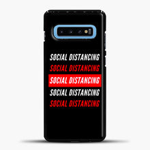 Load image into Gallery viewer, Sosial Distancing White Red Samsung Galaxy S10 Case, Black Plastic Case | casedilegna.com