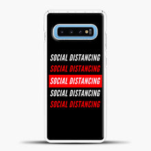 Load image into Gallery viewer, Sosial Distancing White Red Samsung Galaxy S10 Case, White Plastic Case | casedilegna.com