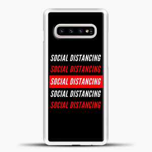 Sosial Distancing White Red Samsung Galaxy S10e Case, White Plastic Case | casedilegna.com