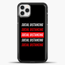 Load image into Gallery viewer, Sosial Distancing White Red iPhone 11 Pro Case, Black Plastic Case | casedilegna.com