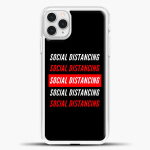 Sosial Distancing White Red iPhone 11 Pro Case, White Plastic Case | casedilegna.com