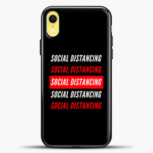 Load image into Gallery viewer, Sosial Distancing White Red iPhone XR Case, Black Plastic Case | casedilegna.com