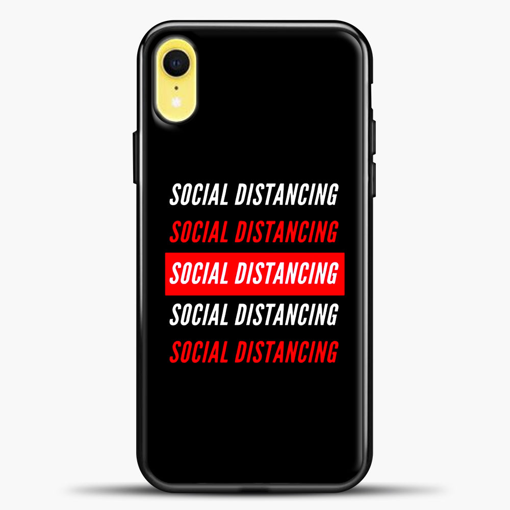 Sosial Distancing White Red iPhone XR Case, Black Plastic Case | casedilegna.com