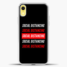 Load image into Gallery viewer, Sosial Distancing White Red iPhone XR Case, White Plastic Case | casedilegna.com