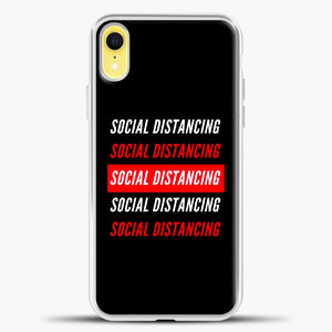 Sosial Distancing White Red iPhone XR Case, White Plastic Case | casedilegna.com