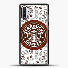 Load image into Gallery viewer, Starbucks Coffee Brown Pattern Samsung Galaxy Note 10 Plus Case, Black Plastic Case | casedilegna.com