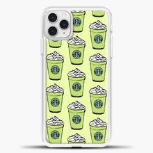Load image into Gallery viewer, Starbucks Coffee Greentea Pattern iPhone 11 Pro Case, White Plastic Case | casedilegna.com
