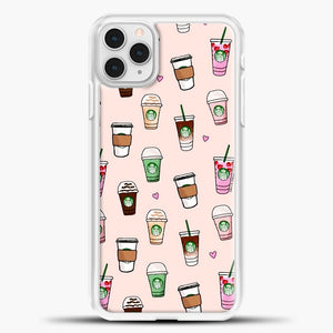 Starbucks Variant Pattern iPhone 11 Pro Case, White Plastic Case | casedilegna.com