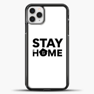 Stay At Home iPhone 11 Pro Case, Black Plastic Case | casedilegna.com