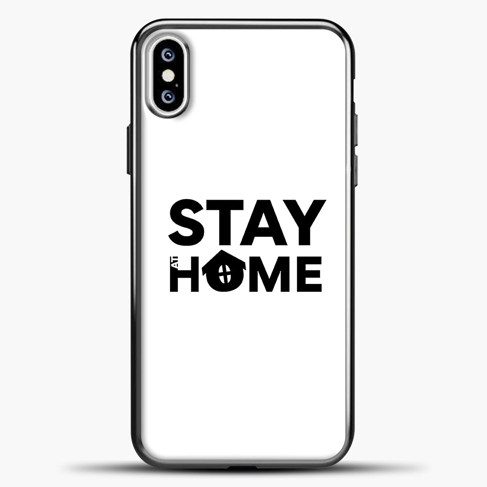 Stay At Home iPhone XS Case, Black Plastic Case | casedilegna.com