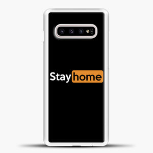 Stayhome Orange Samsung Galaxy S10e Case, White Plastic Case | casedilegna.com