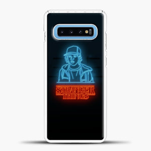 Stranger Things Blue Red Light Samsung Galaxy S10 Case, White Plastic Case | casedilegna.com
