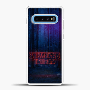 Stranger Things Forest Samsung Galaxy S10 Case, White Plastic Case | casedilegna.com