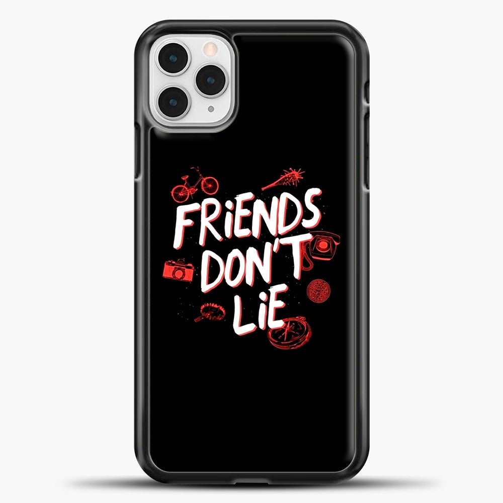 Stranger Things Friends Don't Lie iPhone 11 Pro Case, Black Plastic Case | casedilegna.com