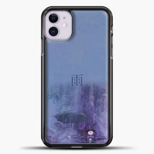 Studio Ghibli Rain Purple Background iPhone 11 Case, Black Plastic Case | casedilegna.com