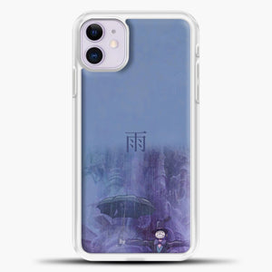 Studio Ghibli Rain Purple Background iPhone 11 Case, White Plastic Case | casedilegna.com