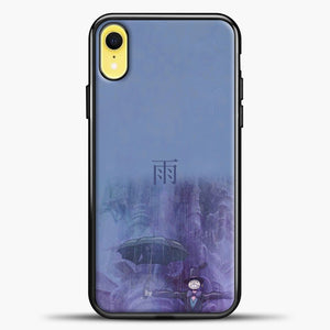 Studio Ghibli Rain Purple Background iPhone XR Case, Black Plastic Case | casedilegna.com